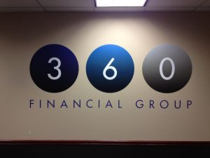 360 Financial Custom Vinyl Lobby Sign